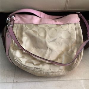 Zoe Large Pink/Khaki Signature & Canvas Hobo Bag